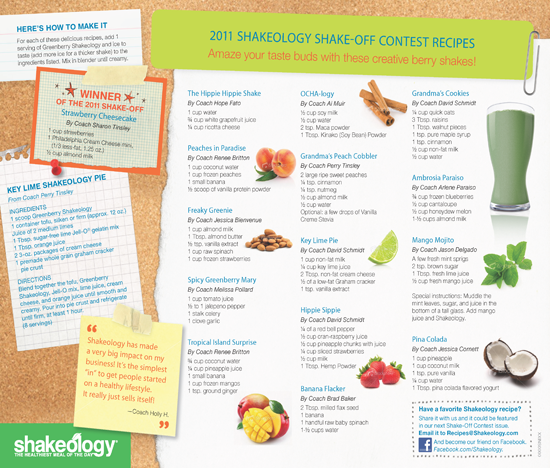 Best of 2011 Greenberry Shakeology Recipes