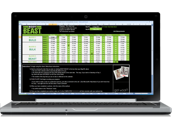 Download the BEST BODY BEAST Worksheets!