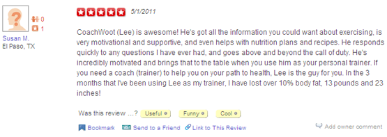 Yelp review of CoachWoot